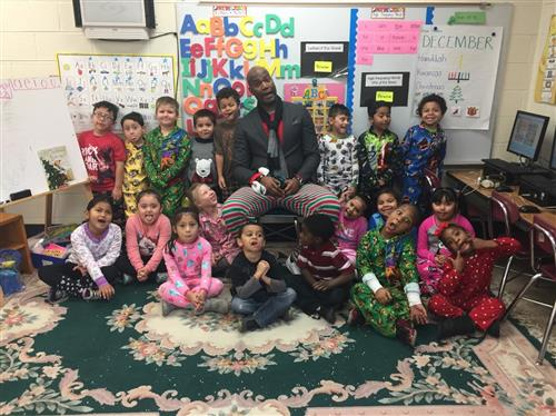 Mr. Bolden and Kindergarten Pajamas Day