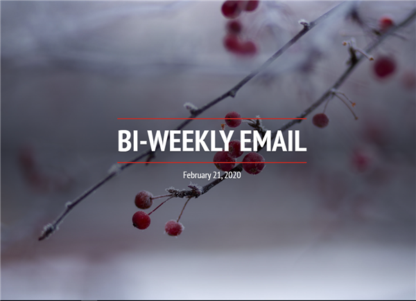 Community Bi-weekly Newsletter - February 21, 2020