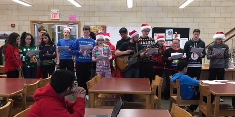 AP Chemistry Class Serenades Students in Library
