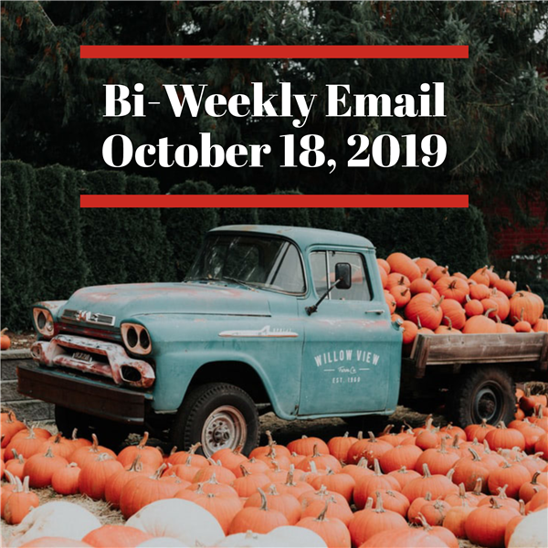 Community Bi-Weekly Newsletter - October 18, 2019