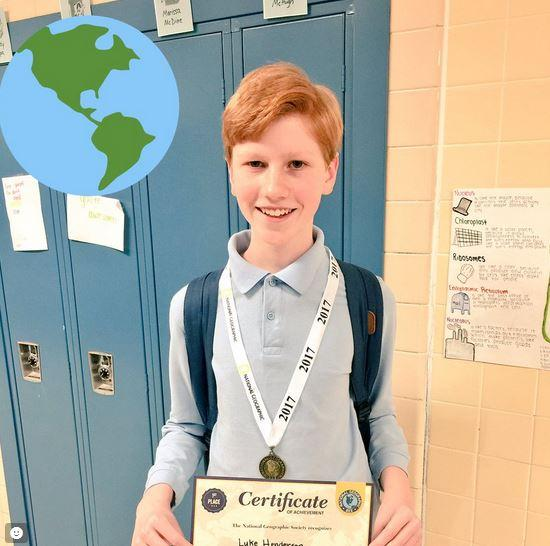 Luke Henderson Runner Up in State Geography Bee