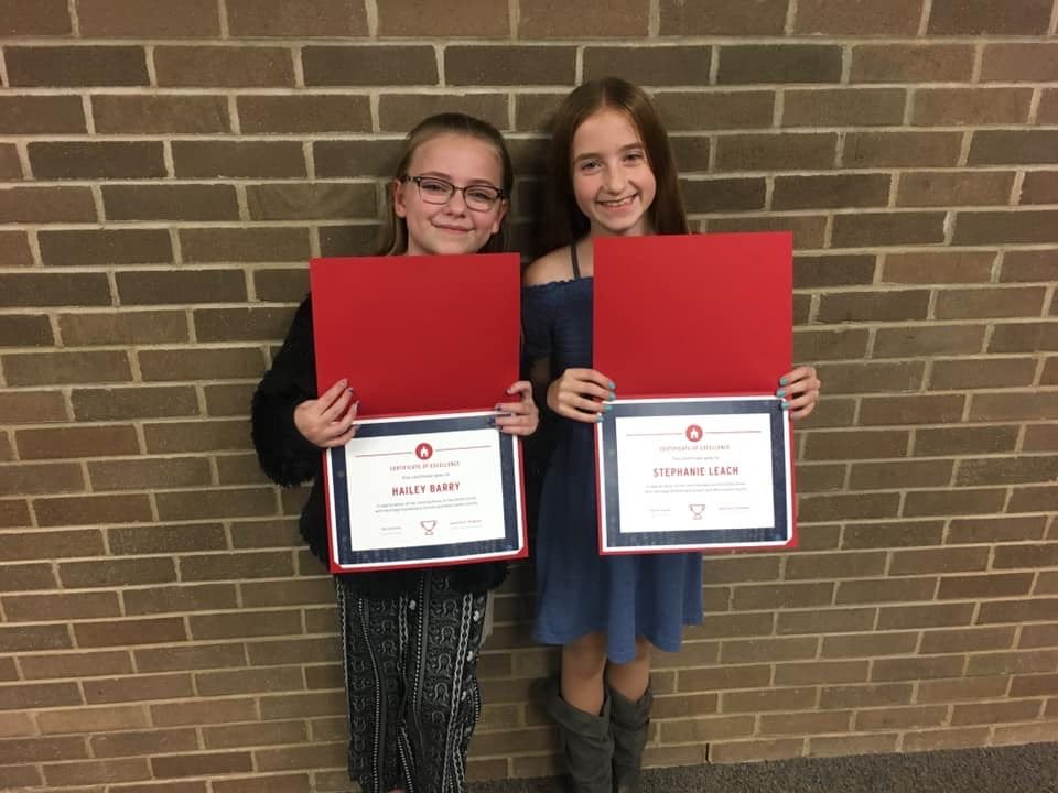 Hailey and Stephanie earn the Superintendents Award for their charitable Stuffed Animal Drive