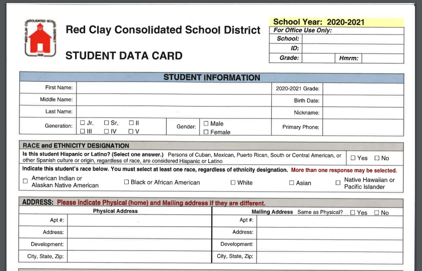 Student Data Cards-Click to access the student data cards that need to be completed and returned as soon as possible.