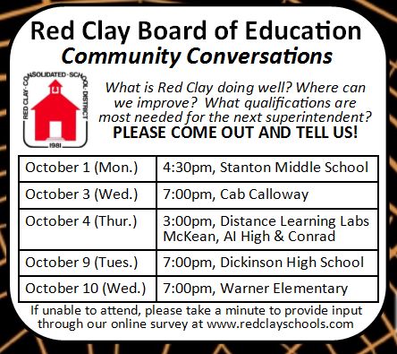 Red Clay holds community meetings