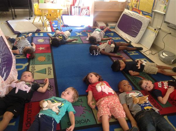Lewis Pre-K students practice belly breathing!
