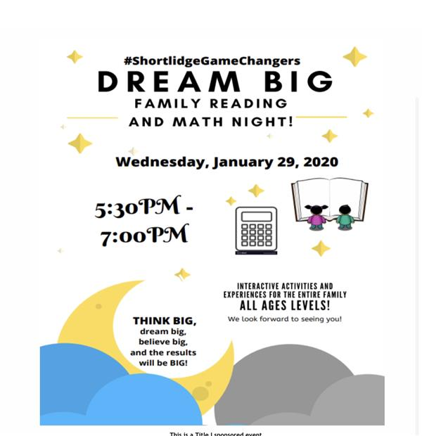 Dream Big - Family Reading and Math Night