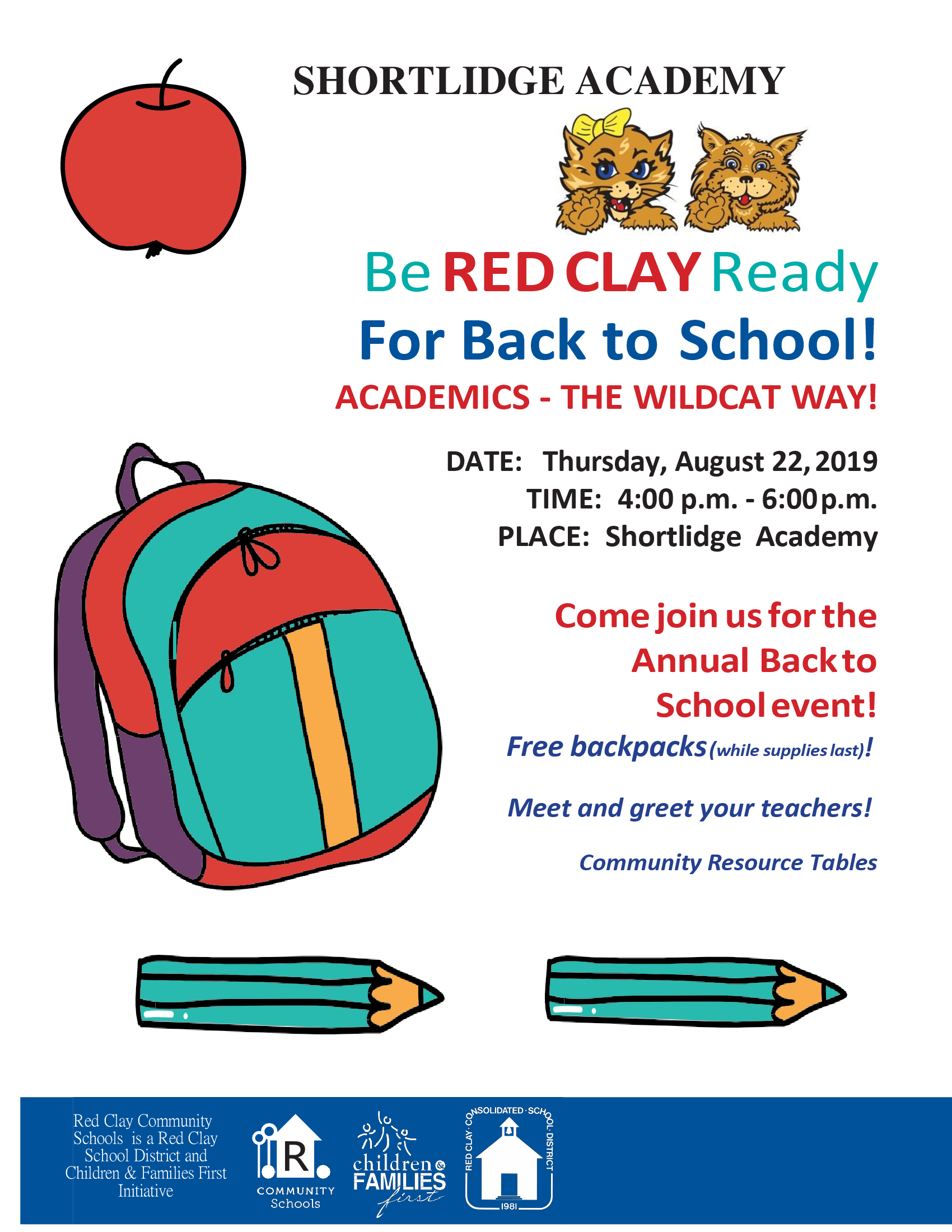 BACK TO SCHOOL - Meet the teacher day! Thursday, August 22, 2019!