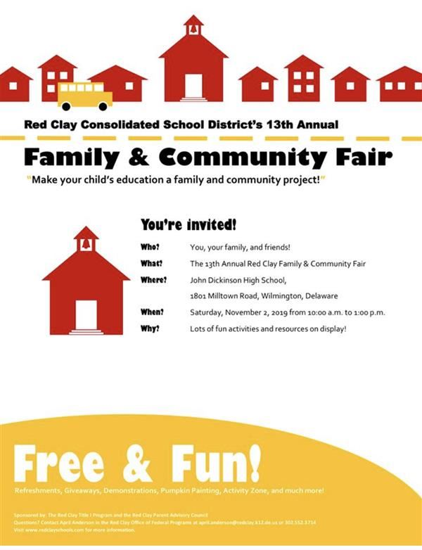 Annual Red Clay Family & Community Fair -November 2, 2019