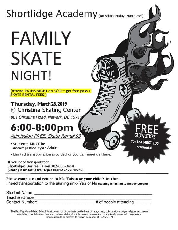 FAMILY SKATE NIGHT! (Attend PATHS NIGHT on 3/20 – get free pass + SKATE RENTAL FEES!) Thursday,Marc