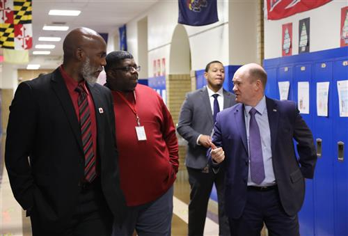 Senator Coons, Superintendent Green and staff