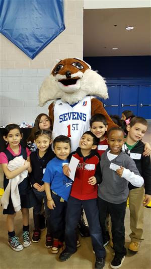 First Graders with Mascot